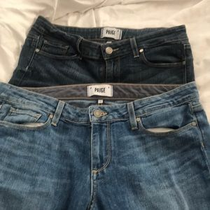 2 pairs of Paige skinny jeans. Fits size 10